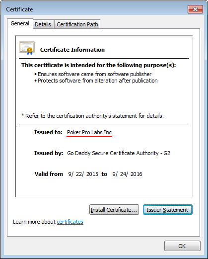 Poker Pro Labs products safety is confirmed by the digital signature